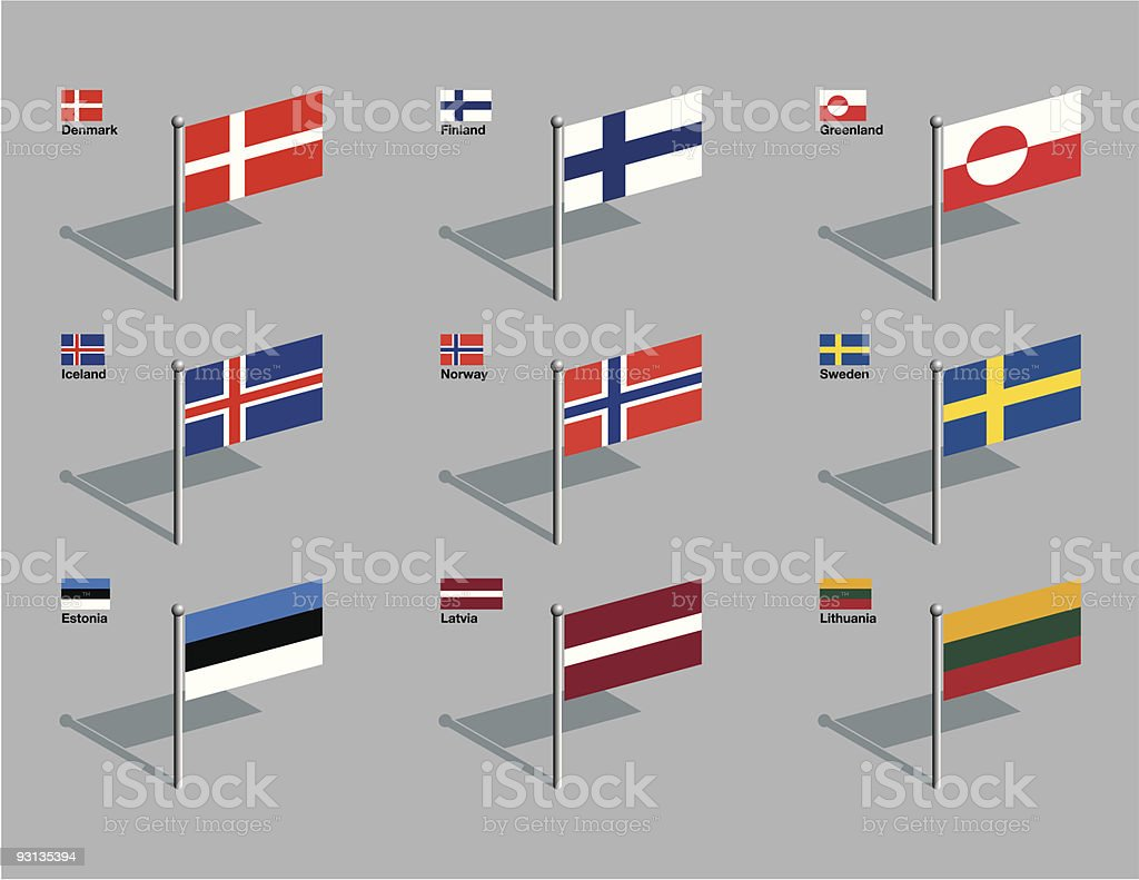 Flag Pins - Nordic, Baltic vector art illustration