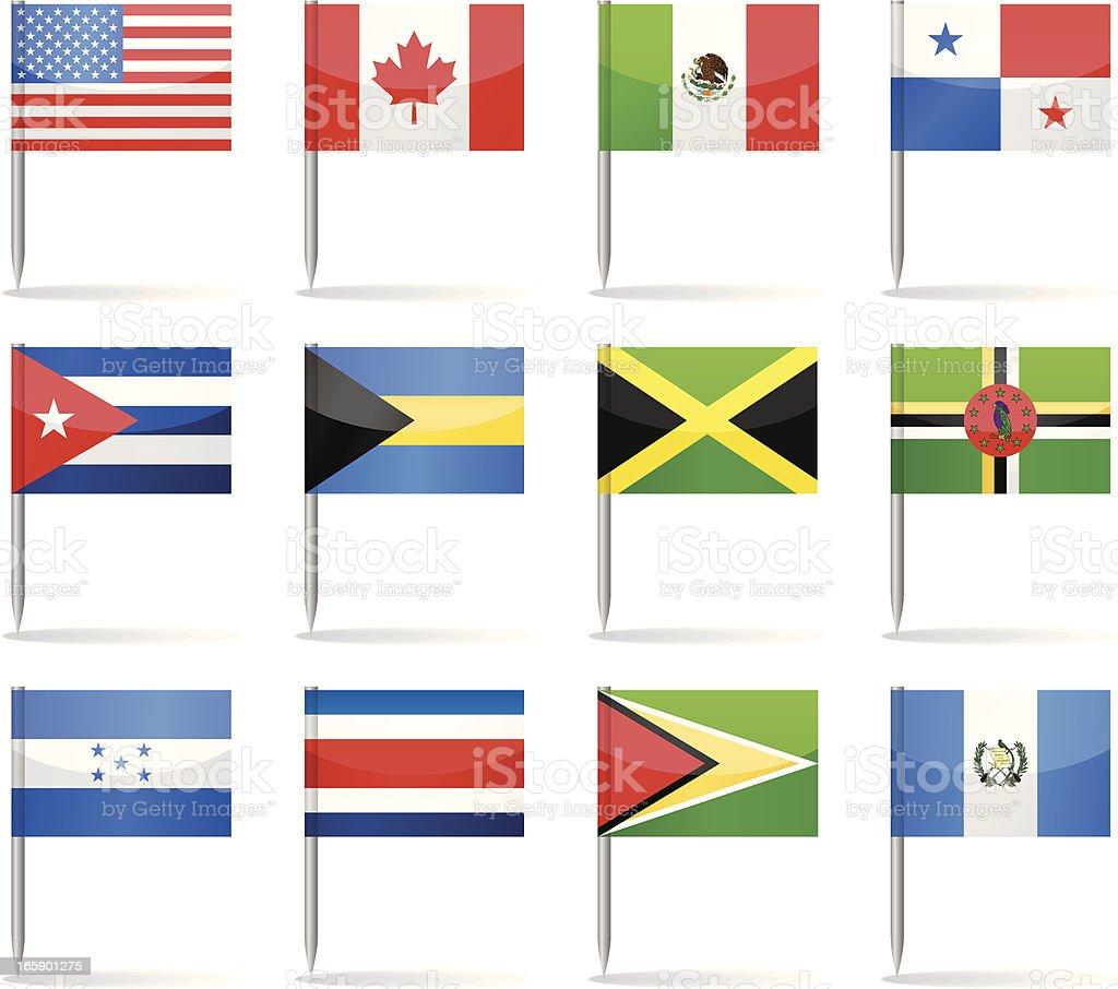 Bandera contactos-North y América Central - ilustración de arte vectorial