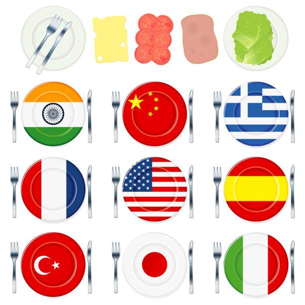 旗プレートと食品 - インド料理点のイラスト素材/クリップアート素材/マンガ素材/アイコン素材