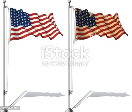 Vector Illustration of a waving 48 star US flag in a clean-cut and an aged version, fasten on a flag pole. This was the flag of the United States during WWI, WWII and the Korean War. Both versions are in-place in separate layers. Flags and pole in separate groups; line art, shading and color neatly in groups for easy editing. EPS-10 and a 30+ Mpxl Q12 JPEG Preview.
