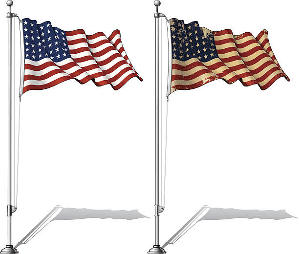 Flag Pole US WWI-WWII (48 stars) Ensign Vector Illustration of a waving 48 star US flag in a clean-cut and an aged version, fasten on a flag pole. This was the flag of the United States during WWI, WWII and the Korean War. Both versions are in-place in separate layers. Flags and pole in separate groups; line art, shading and color neatly in groups for easy editing. EPS-10 and a 30+ Mpxl Q12 JPEG Preview. american flag illustrations stock illustrations