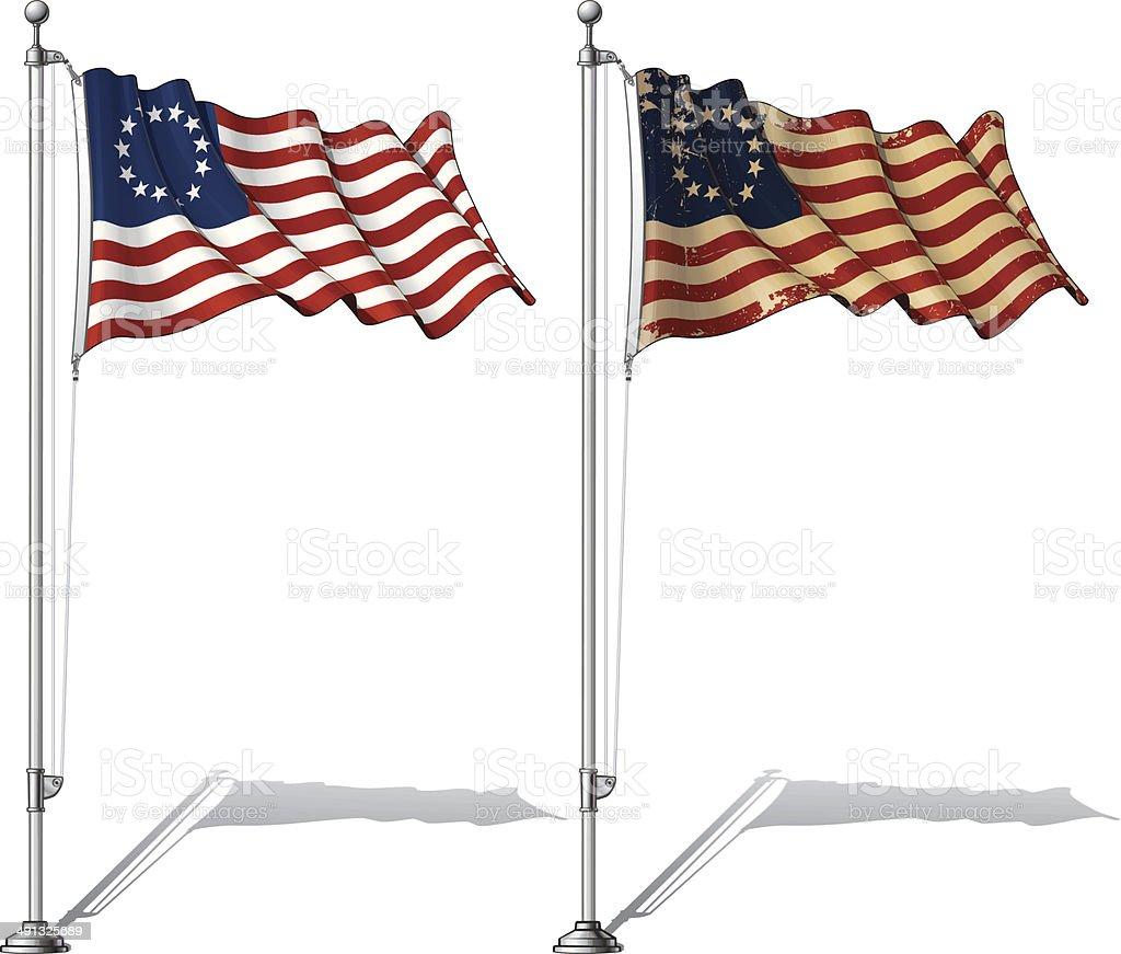Flag Pole USA Betsy Ross vector art illustration