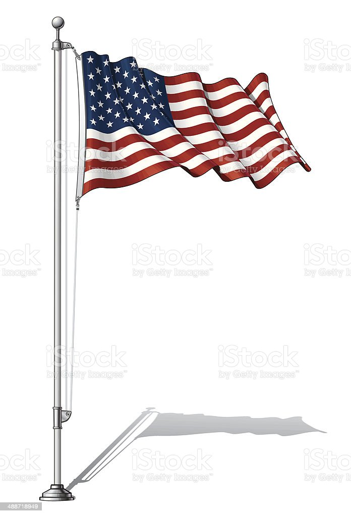 Flag Pole USA vector art illustration