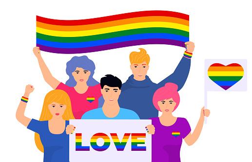 LGBT flag. Pride month. Rainbow. Lesbian, gay, bisexual, and transgender. LGBTQ organization. Vector illustration