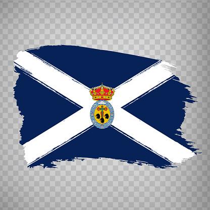 Flag  Province of Santa Cruz de Tenerife brush strokes. Flag Santa Cruz de Tenerife of the Canary Islands on transparent background for your web site design,  app, UI. Kingdom of Spain. Stock vector.  EPS10.