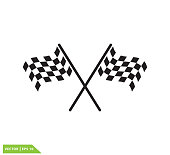 Flag race icon vector logo design illustration