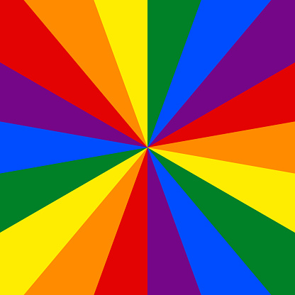 LGBT flag. Rainbow background. Abstract sunburst or sunbeams pattern for use in LGBTQI Pride Event, LGBT Pride Month, Gay Pride Symbol.