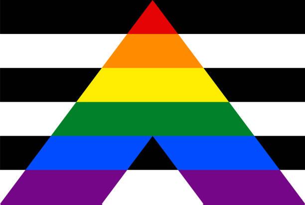 Flag, rectangular shape icon on white background Straight Ally Flag, LGBT symbol Isolated on white background cisgender stock illustrations