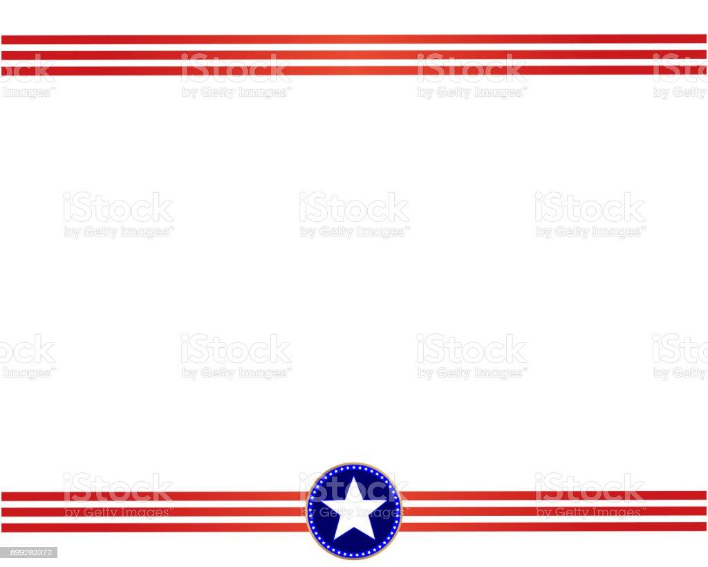 Usa Flagge Rot Blauen Rahmen Mit Leeren Platz Für Text Stock Vektor ...