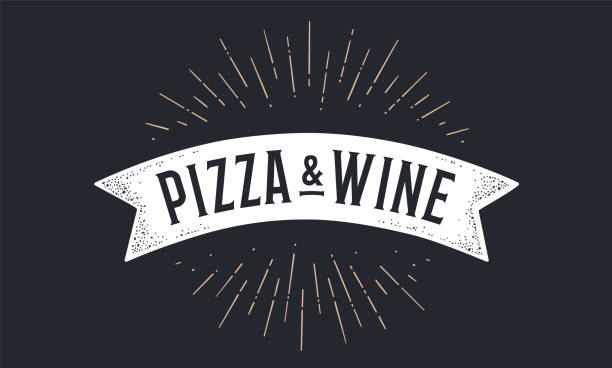 Flag ribbon Pizza Wine. Old school flag banner Flag ribbon Pizza Wine. Old school flag banner with text Pizza Wine. Ribbon flag in vintage style with linear drawing light rays, sunburst and rays of sun, text pizza wine. Vector Illustration alcohol drink borders stock illustrations