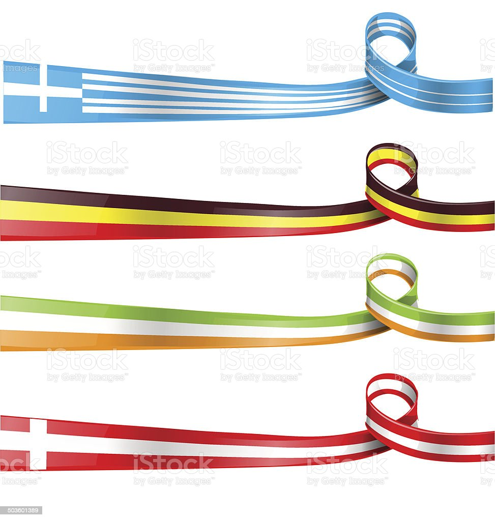 flag ribbon set vector art illustration
