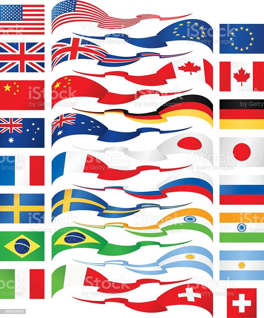 Flag ribbons - most popular vector art illustration