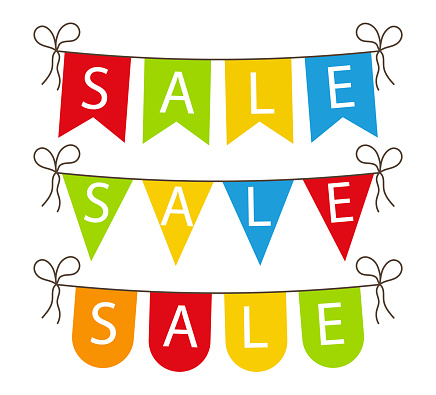 Flag sale. Banner for celebrate sale. Fair with bright, colorful decoration. Festive discount with color bunting. Shopping concept. Hanging garland and ribbon on outdoor for happy event. Vector
