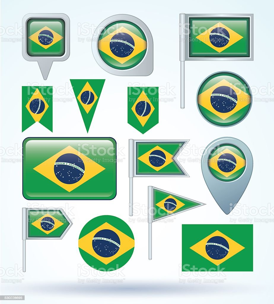 Flag set of Brazil, vector illustration vector art illustration