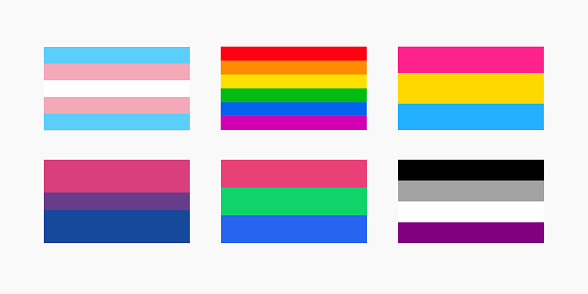 Flag set of pansexual, bisexual, gay, transgender, polisexual and asexual