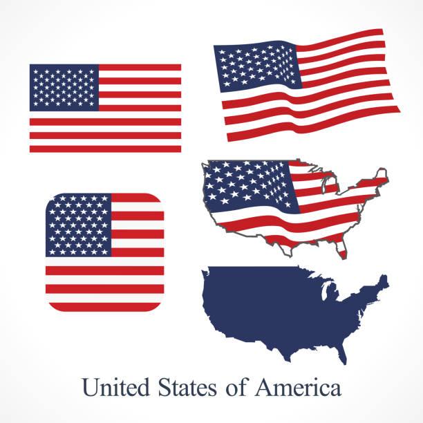 USA flag set vector vector art illustration