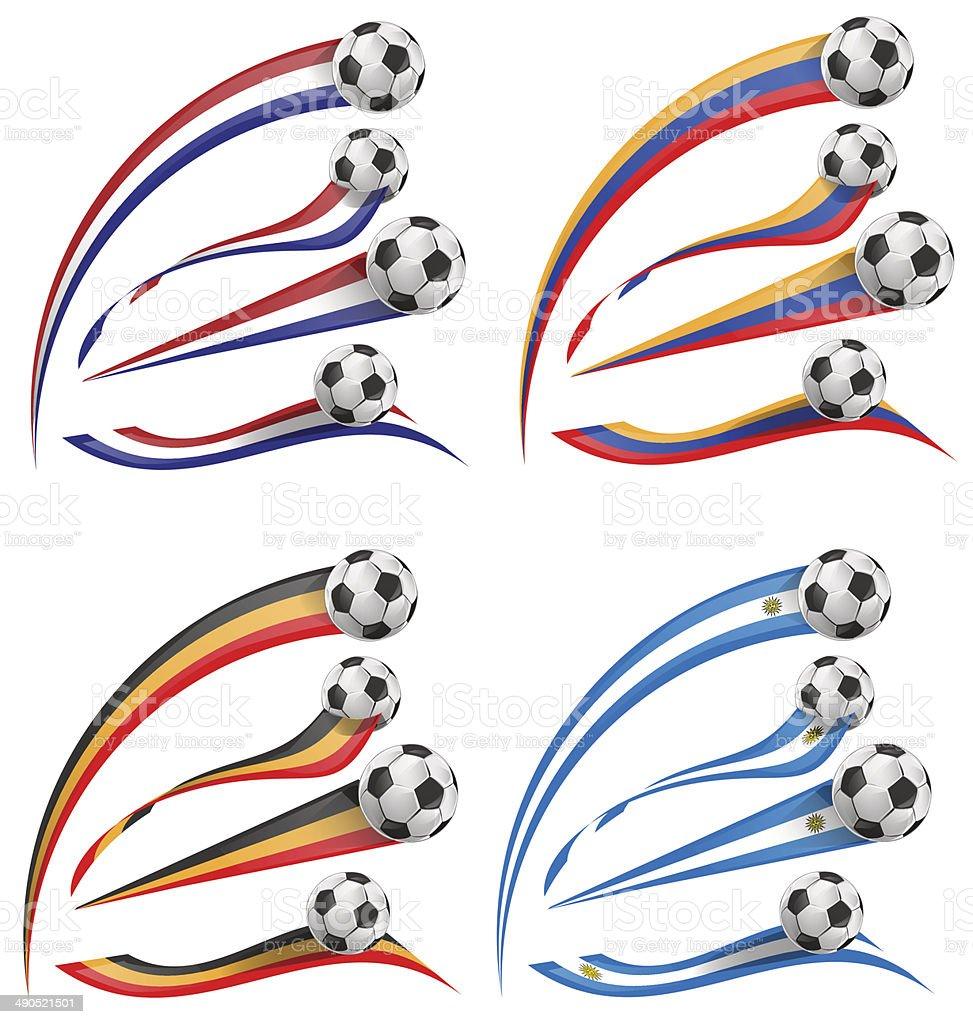 flag set whit soccer ball vector art illustration