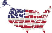 USA flag. Shape of american map. Vector.