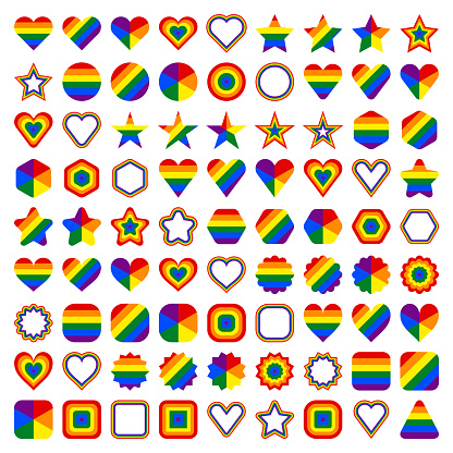 LGBT flag shapes. Forms of circle, star, hexagon, heart, square, triangle. Set of signs in rainbow colors for use in LGBTQI Pride Event, LGBT Pride Month or Gay Pride Symbol. Vector illustration