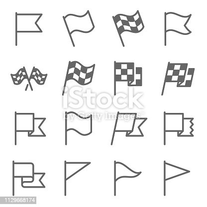 Flag Sign Vector Line Icon Set. Contains such Icons as Flagpole, Start Flag, Race, Winner and more. Expanded Stroke