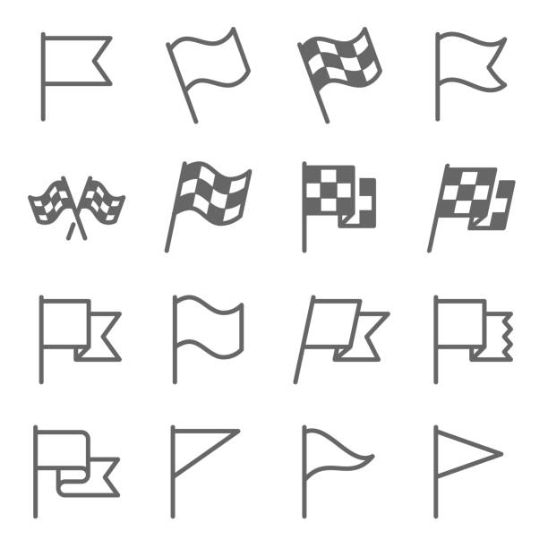 Flag Sign Vector Line Icon Set. Contains such Icons as Flagpole, Start Flag, Race, Winner and more. Expanded Stroke Flag Sign Vector Line Icon Set. Contains such Icons as Flagpole, Start Flag, Race, Winner and more. Expanded Stroke personal land vehicle stock illustrations