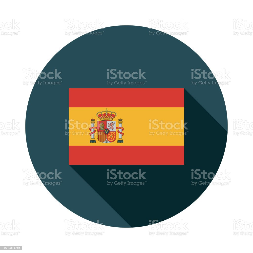Flag Spain Flat Design Icon vector art illustration