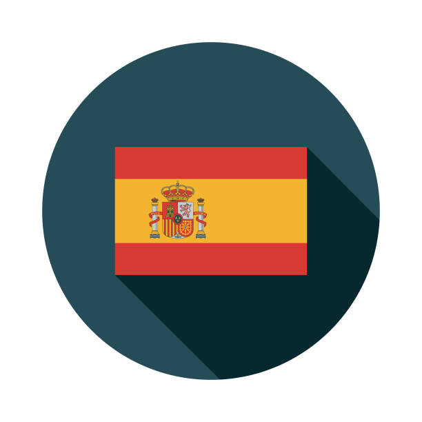 Icône de drapeau Espagne Design plat - Illustration vectorielle