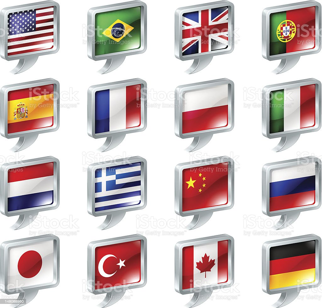 Flag speech bubble icons buttons royalty-free stock vector art
