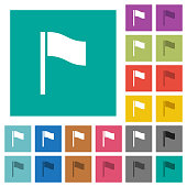 Flag square flat multi colored icons