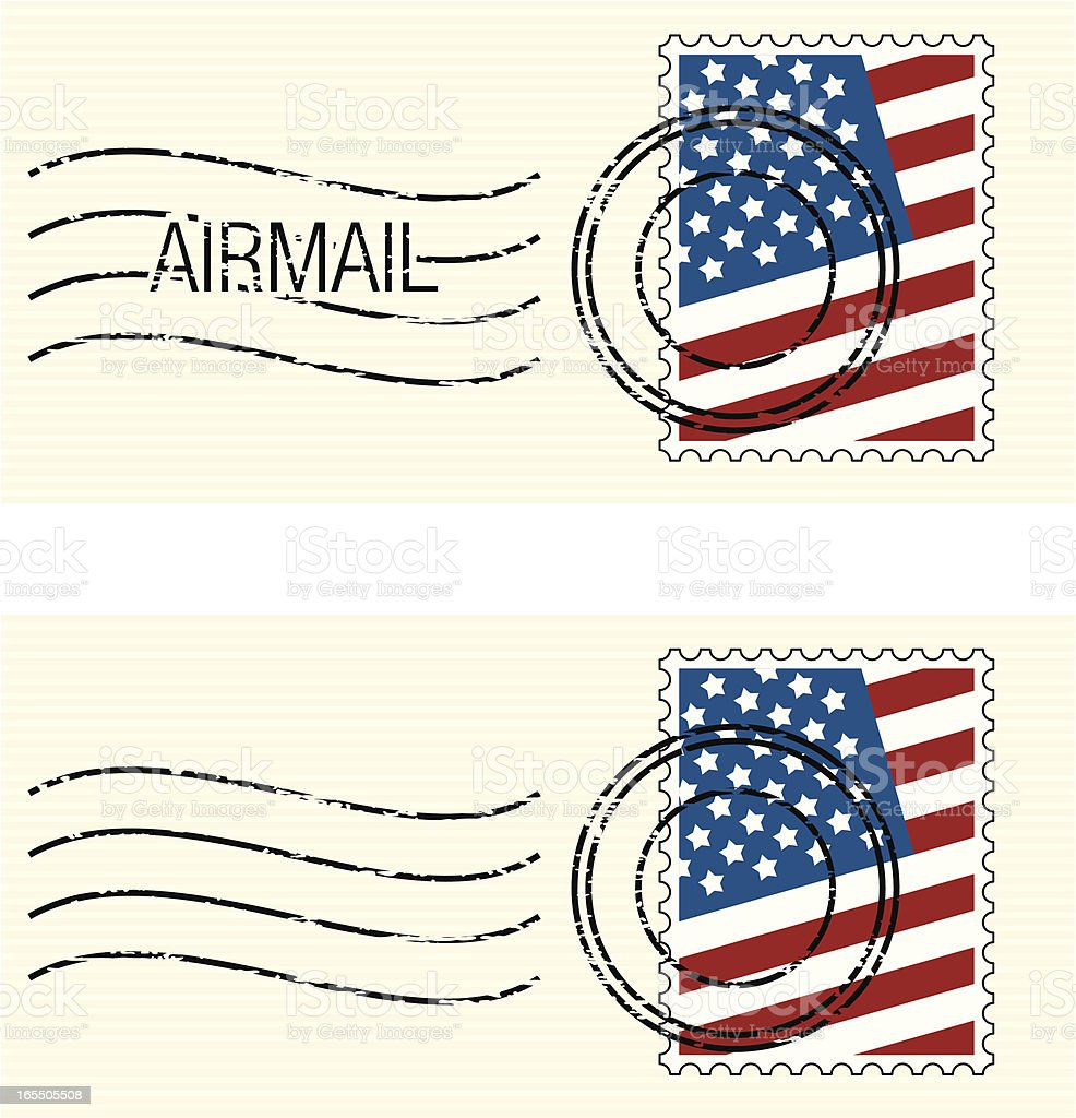 USA Flag Stamp vector art illustration