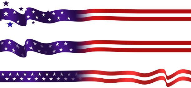 US Flag strip set US Flag strips border design set ribbon sewing item stock illustrations