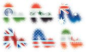 Selection of Vector round pixel based flag swooshes. More to come.