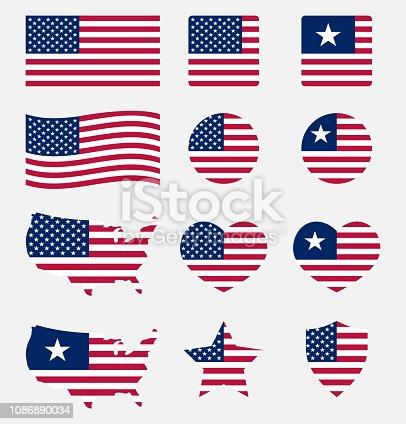 usa flag icons set, national symbol of the United States of America