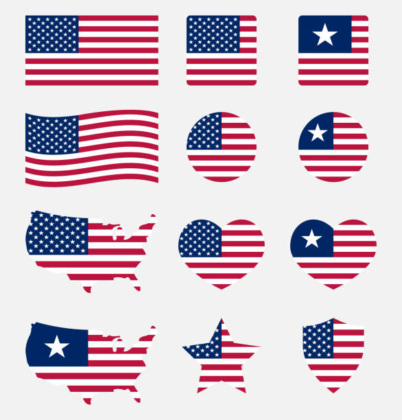 usa flag symbols set, united states of america national flag icons - american flag stock illustrations