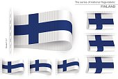 Flag Tag Clothes Label Sticker Sewn Set Finland