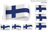 Flag Tag Clothes Label Sticker Sewn Set Finland