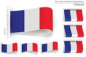 National state flag of France; Sewn clothing label tag; Vector set flags of French Republic; Eps10