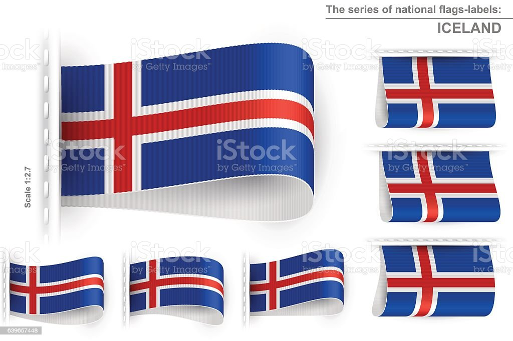Flag tag clothes label sticker sewn set iceland royalty free flag tag clothes label sticker