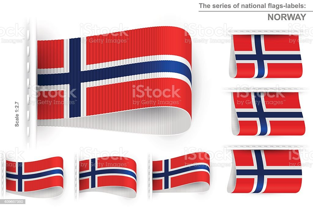 Flag tag clothes label sticker sewn set norway royalty free flag tag clothes label sticker