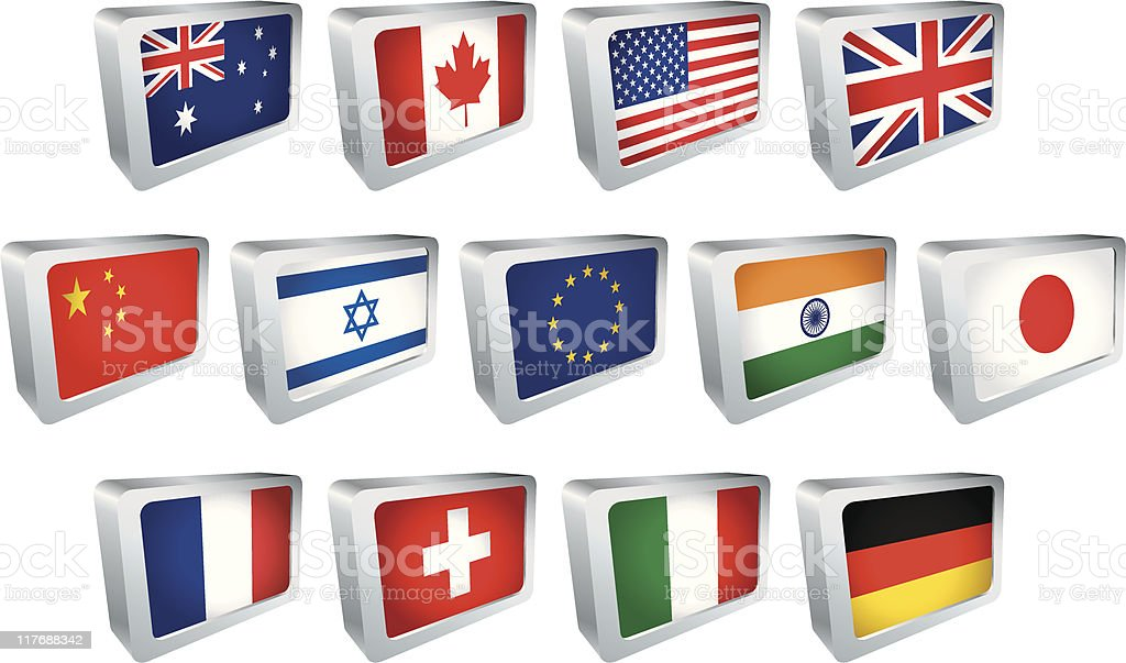 Flag Tile - Round the world royalty-free stock vector art