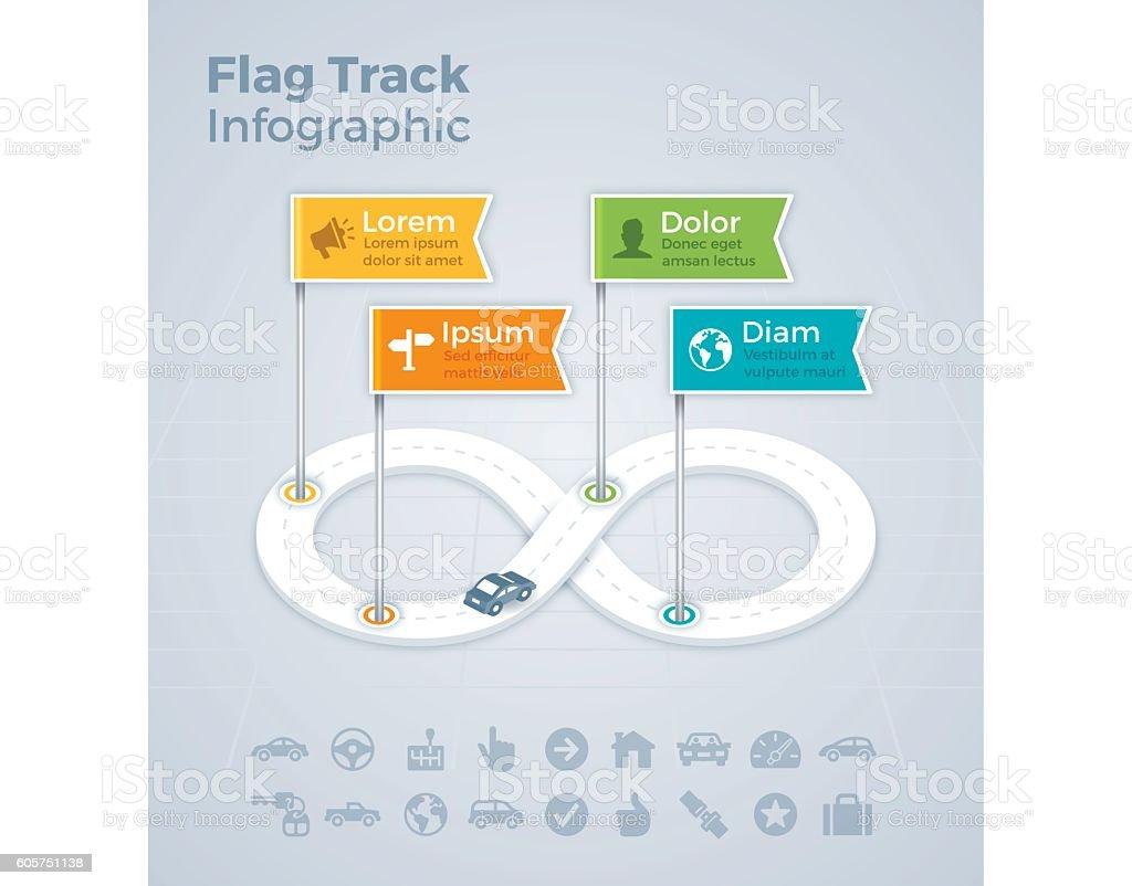 Flag Track Infograhic vector art illustration