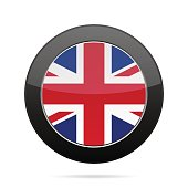 Flag - United Kingdom. Shiny black round button.