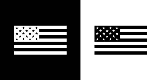 USA Flag. USA Flag.This royalty free vector illustration features the main icon on both white and black backgrounds. The image is black and white and had the background rendered with the main icon. The illustration is simple yet very conceptual. pattern stock illustrations