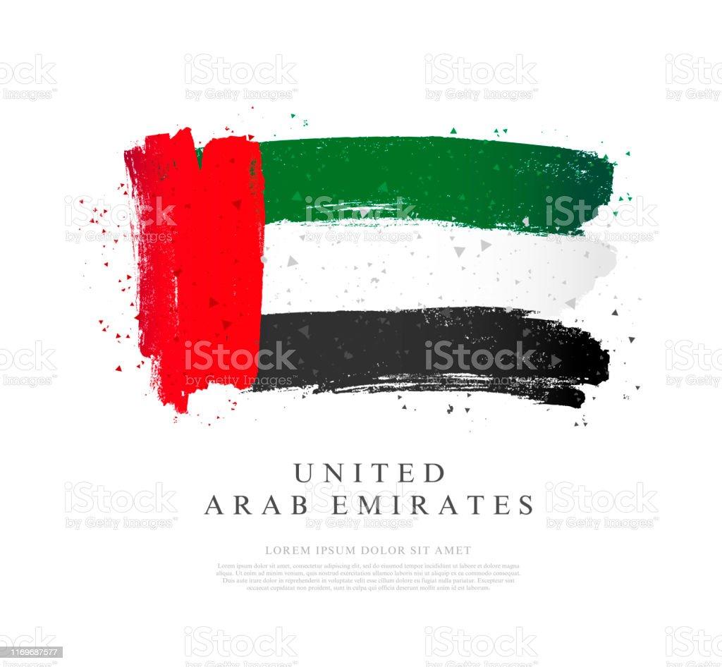 阿聯酋國旗。白色背景上的向量插圖。筆觸 - 免版稅中東圖庫向量圖形