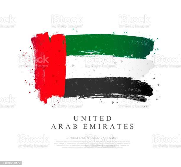 阿聯酋國旗白色背景上的向量插圖筆觸向量圖形及更多中東圖片