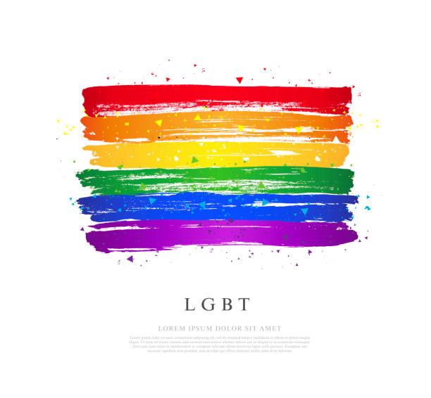 LGBT-Flagge. Vektordarstellung auf weißem Hintergrund. Pinselstriche – Vektorgrafik