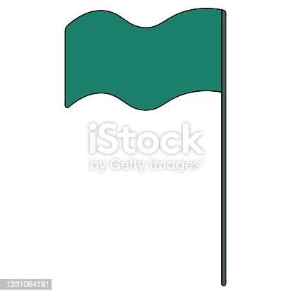 istock Flag. Vector illustration. The banner flies in the wind. Isolated white background. Cartoon style. 1331064191
