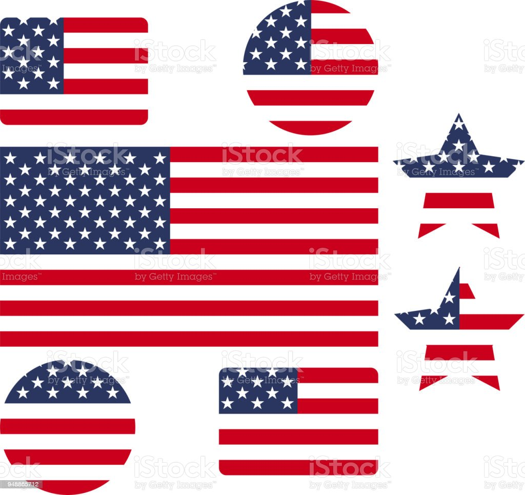 USA flag vector outline icon set illustration backgrounds. Creative graphic designs of flag of United States of America vector art illustration