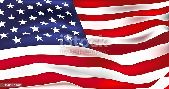istock US flag vector. Stars and Stripes. Old Glory 1163474492