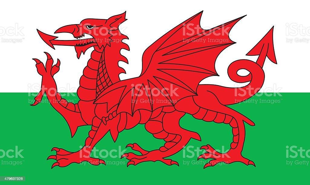 Flag Wales vector art illustration